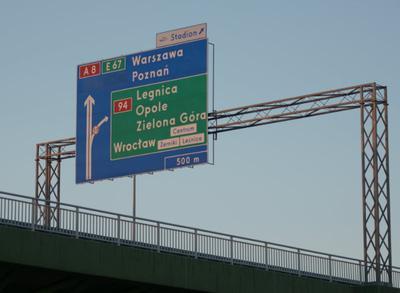 Zjazd Stadion z autostrady na osiedle Wrocław Żerniki