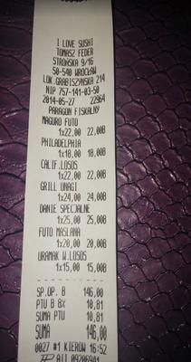 Przykładowe ceny sushi